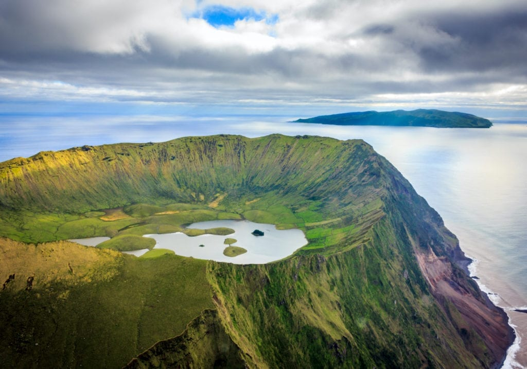Aerial view Corvo Azores by Samuel Domingues Shutterstock