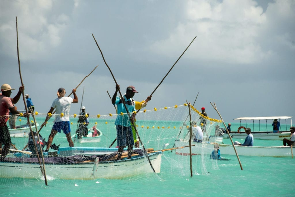 Net fishing lagoon Rodrigues Mauritius by Pascal Legesse Shutterstock