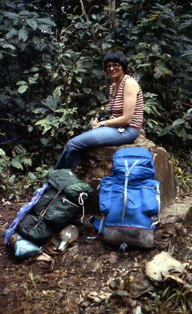 Hilary Bradt trekking