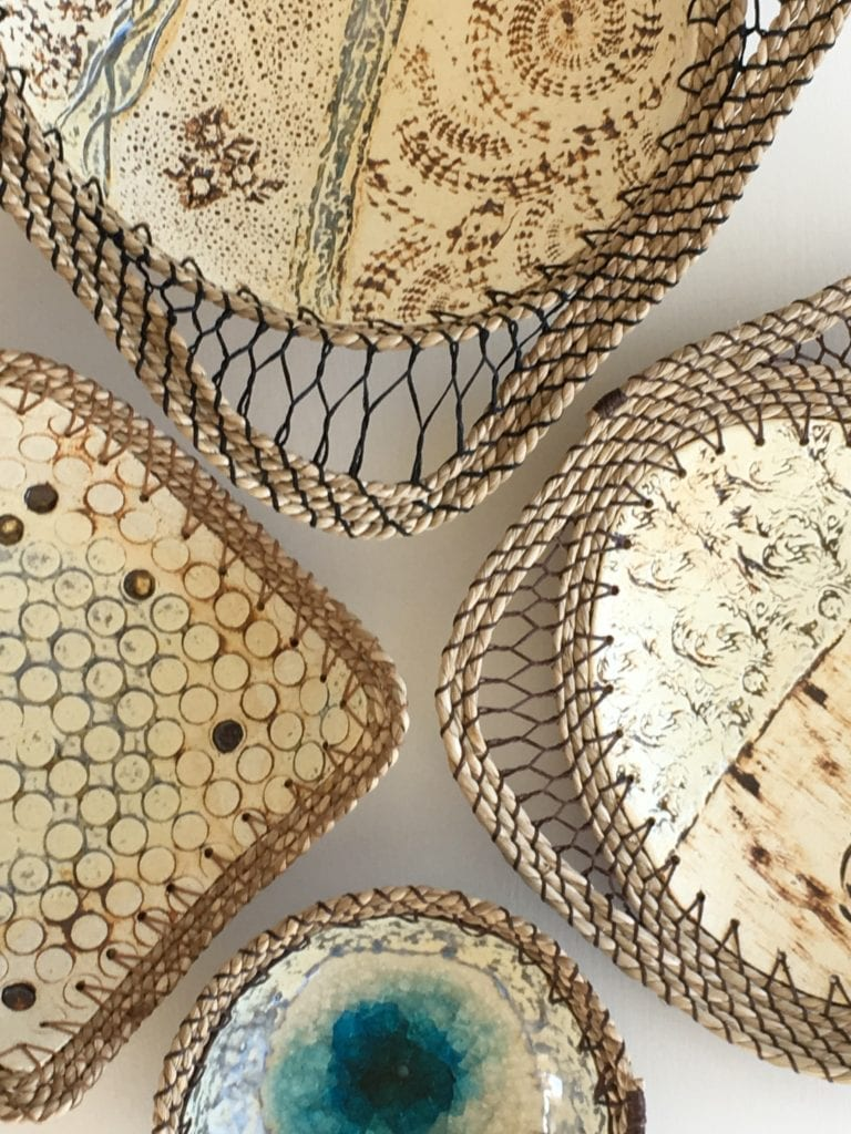 embossed stoneware seagrass detail in outer hebrides