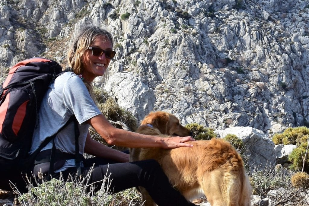 author jennifer barclay and her dog lisa in greece