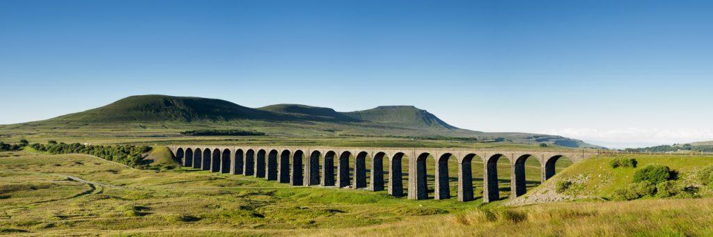 Ribblehead Viaduct Settle to Carlisle line Yorkshire Dales tourist train rail charter