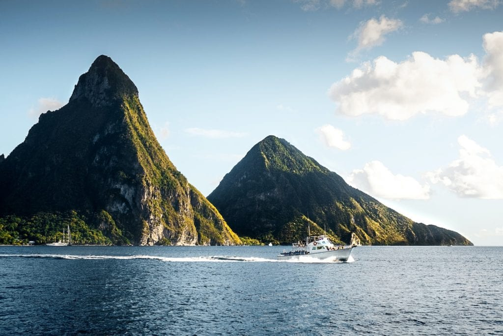 Caribbean countries open for winter sun Pitons Bay St Lucia by Daniel Öberg