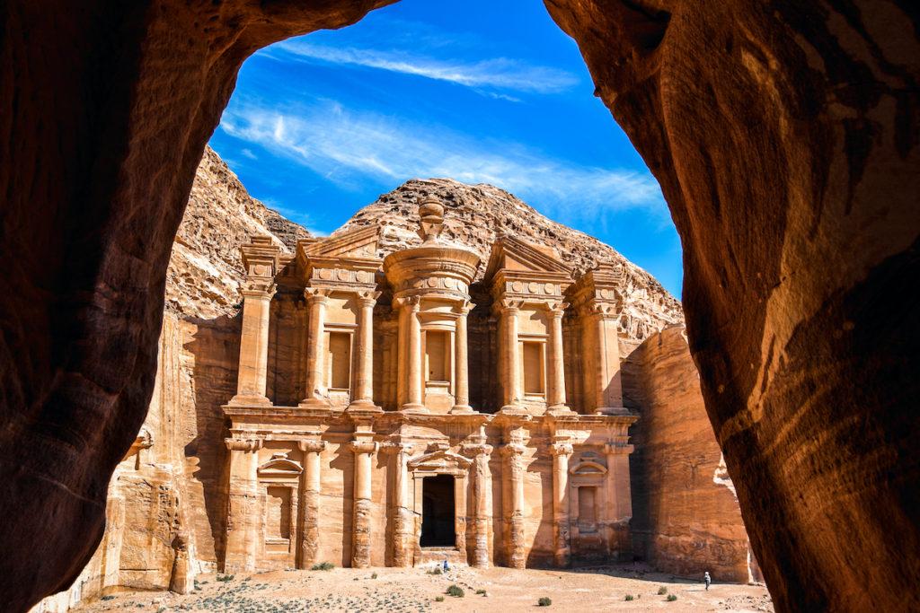 View from Ad Deir Cave Petra Jordan by tenkl Shutterstock, travel winter sun
