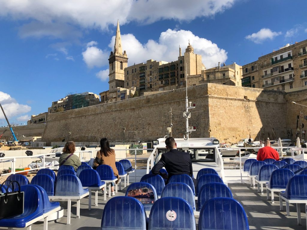 Ferry on the way to explore Valletta churches