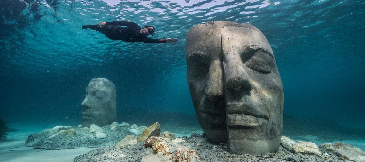 Cannes underwater museum statues