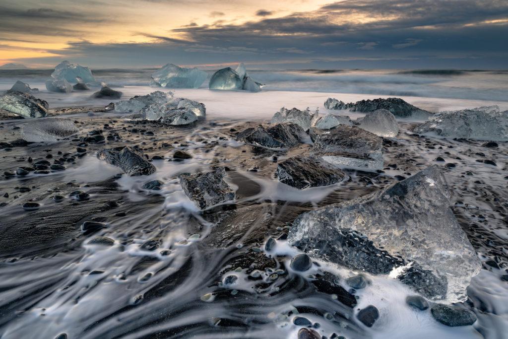 Diamond Beach Sunrise Iceland by Scott Bennett