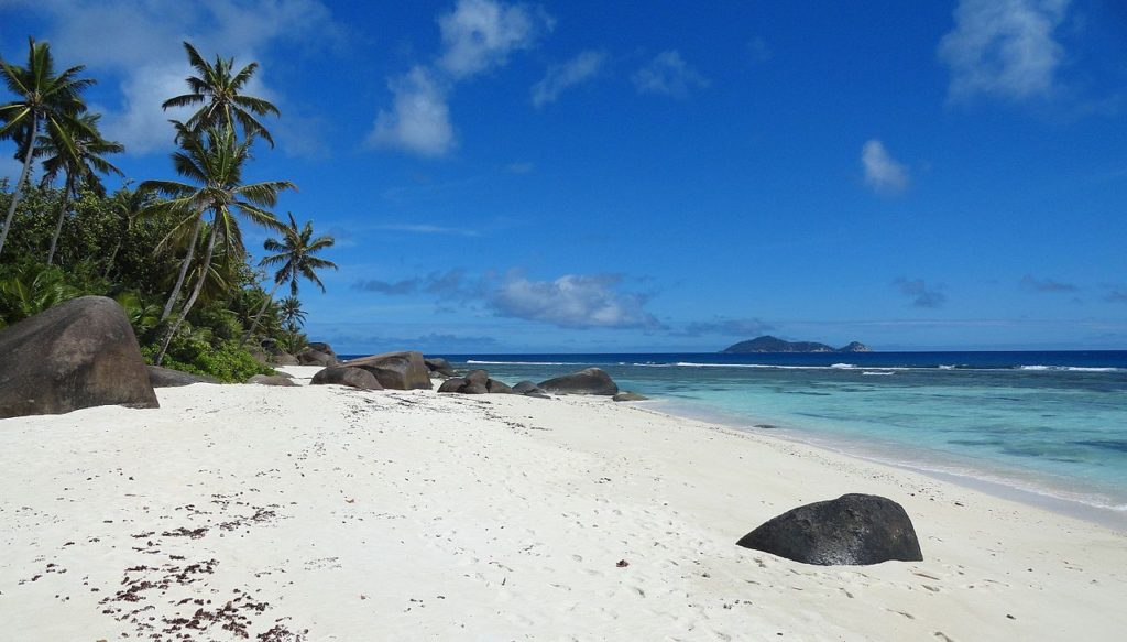 Beach Silhouette Island Seychelles by Fabio Achilli Wikimedia Commons