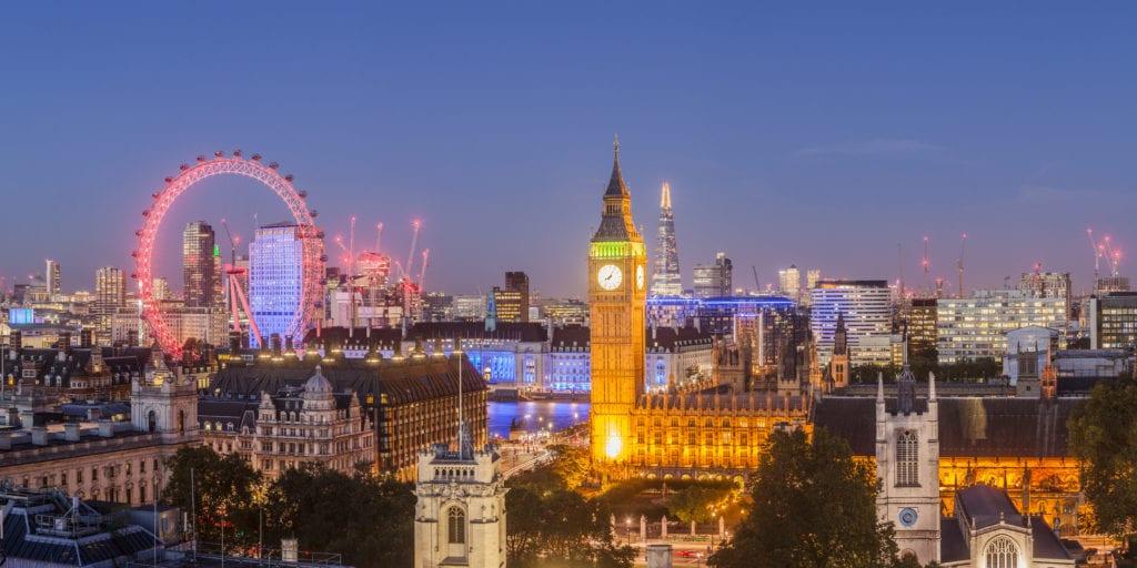 View of Westminster at night, London, Julian Elliott