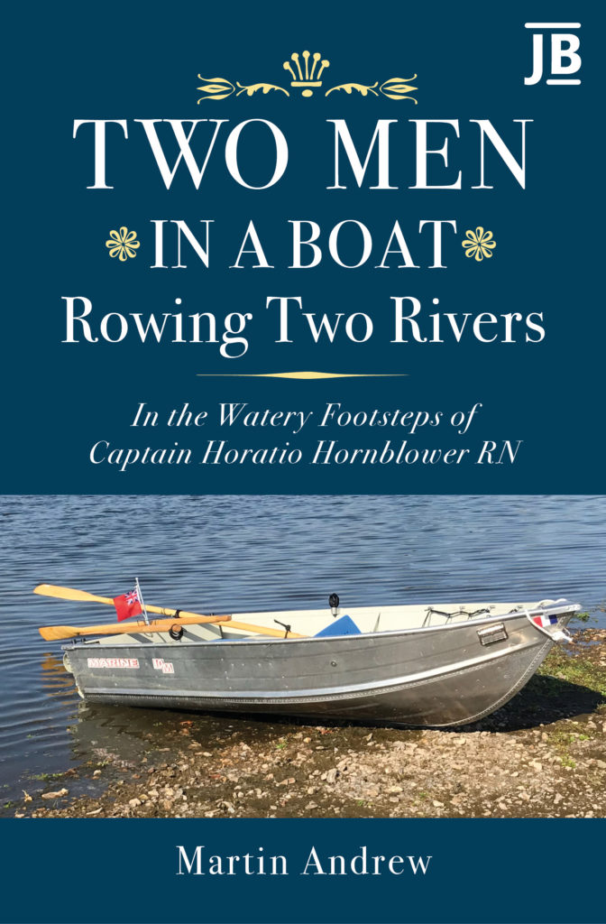 Two Men in a Boat Rowing Two Rivers