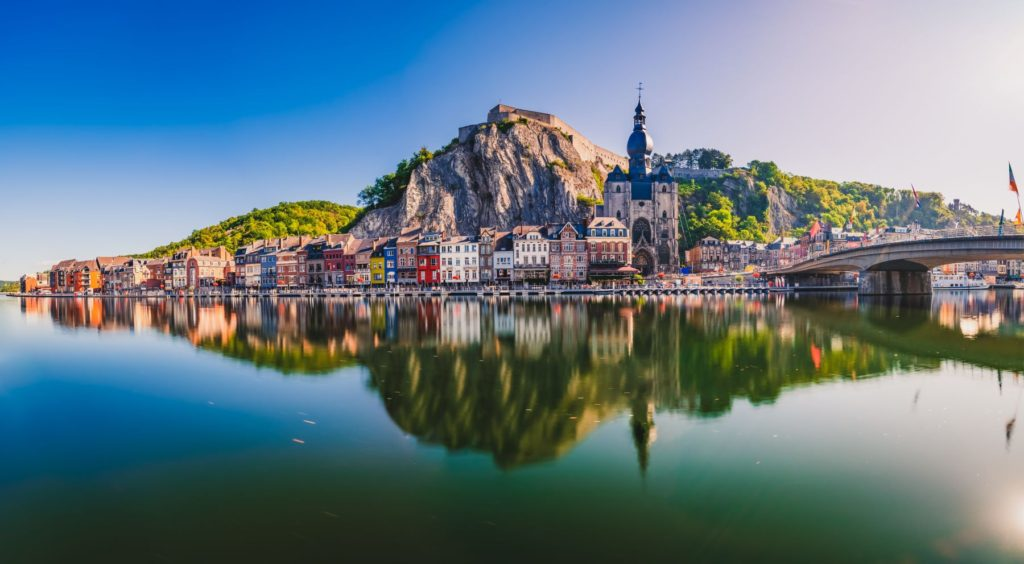 Dinant in Belgium, on one of the best camping road trips