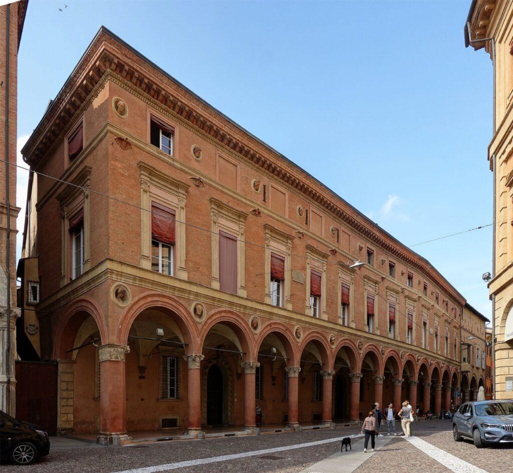 Palazzo Bolognini and its portico in Bolonga