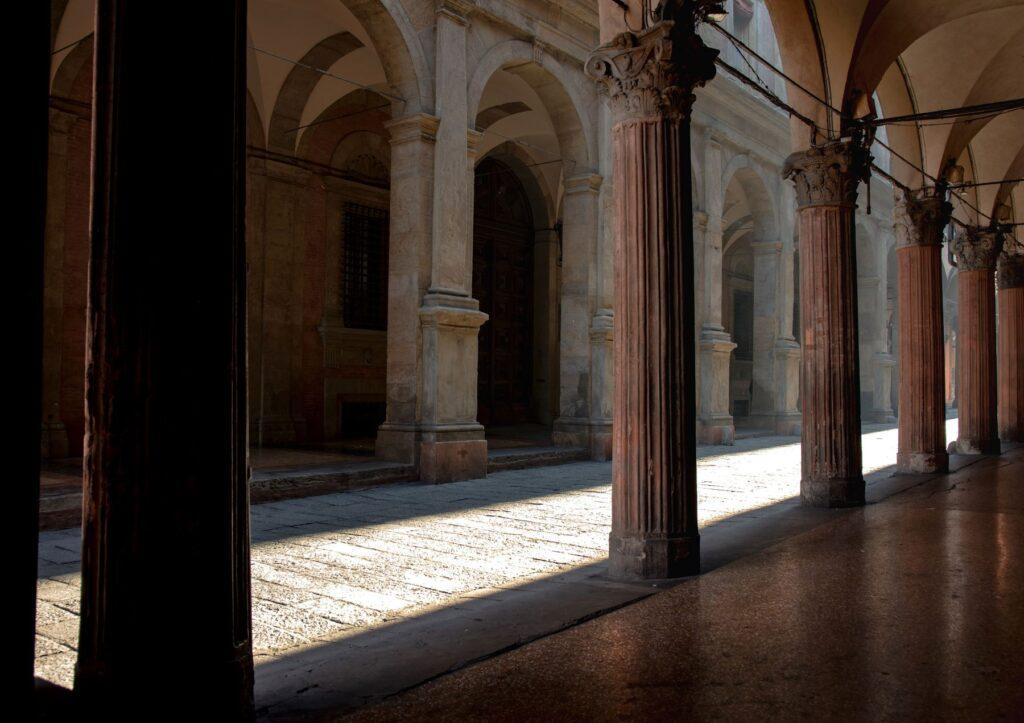 Porticoes on the Via Zamboni in Bologna