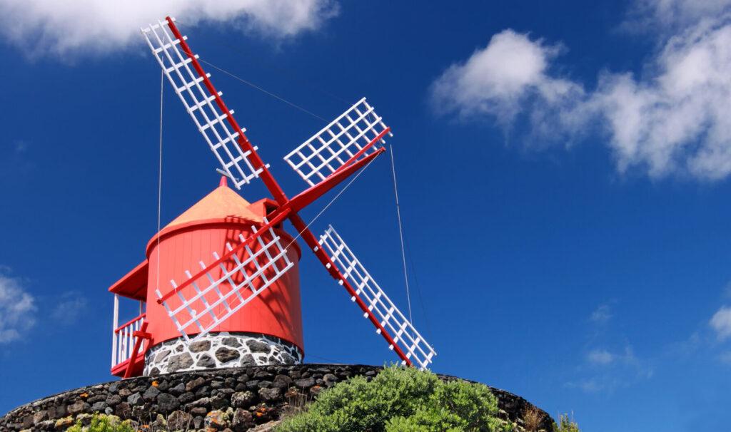 Windmill Pico island Azores Portugal