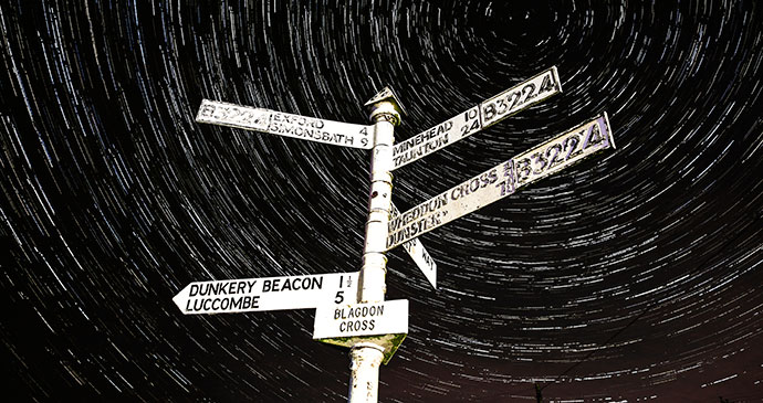 Blagdon Cross Startrails Exmoor Dark Sky Reserve England UK by Hilary Bradt