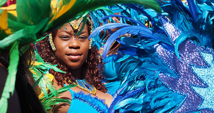 A lady taking part in the Carnival that takes place in Dominica © Paul Crask