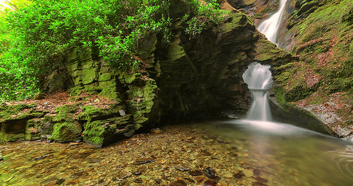 St Nectans waterfall St Nectans Glen Cornwall England UK by Andy Fox Photography Shutterstock