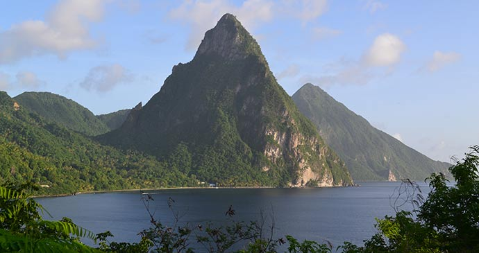 The Pitons viewed from the road to Jade Mountain © Adam Strange