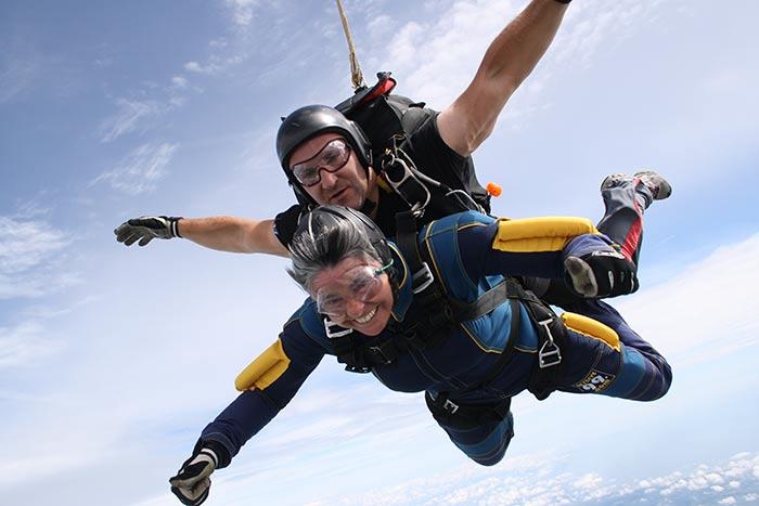 Hilary Bradt skydiving