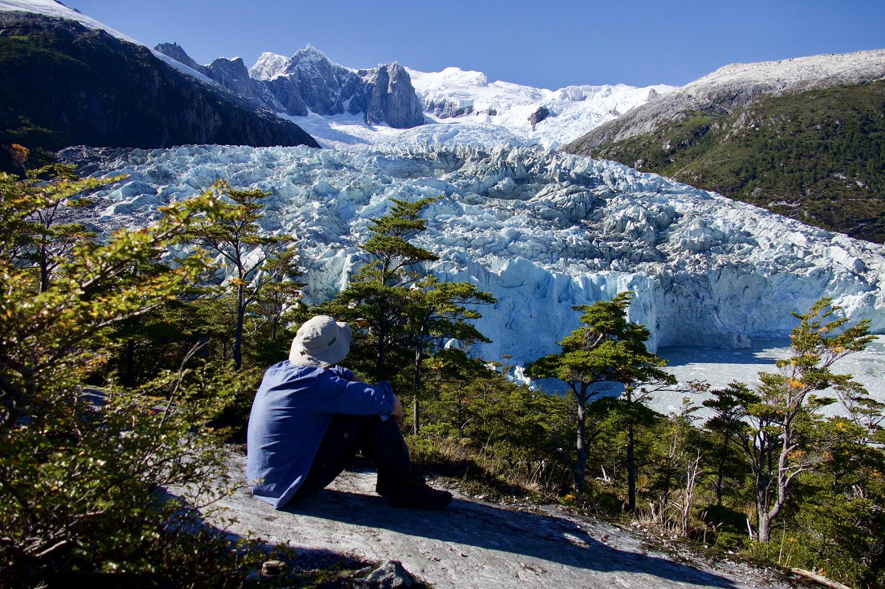 Admiring the Pia Glacier in Chile