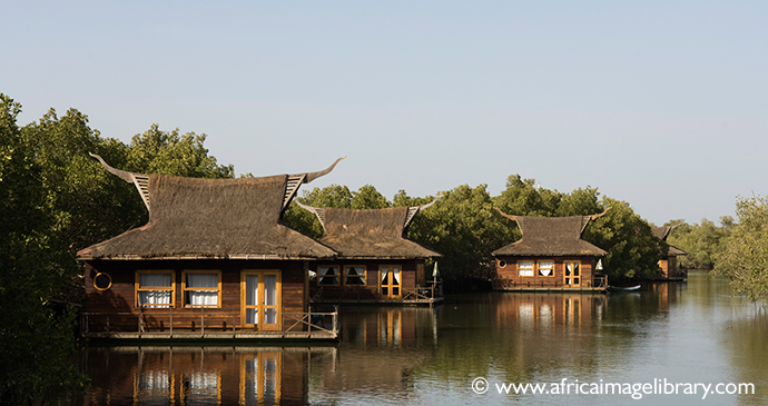 Floating accommodation, River Gambia, Mandina Lodge, The Gambia by Ariadne Van Zandbergen, www.africaimagelibrary.com