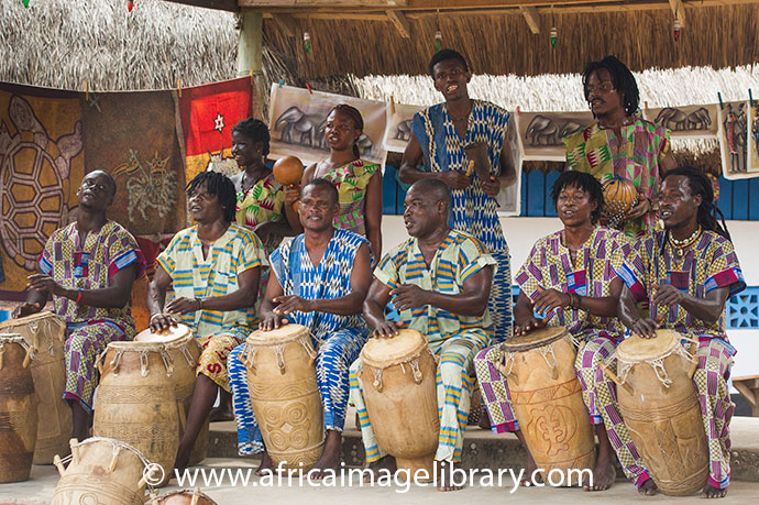 Traditional drummers perform in Kokrobite Ghana Africa by Ariadne Van Zandbergen Africa Image Library www.africaimagelibrary.com