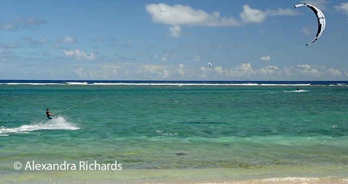 Kitesurfing off Rodrigues © Alexandra Richards
