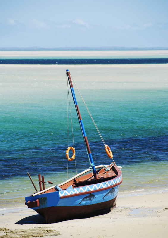 A dhow on the sand, Mozambique by James Harrison, Shutterstock