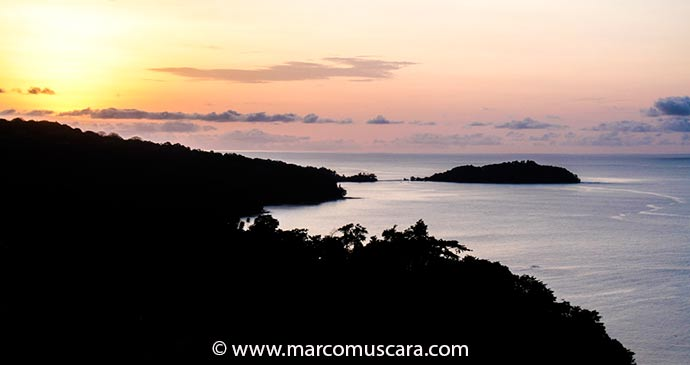 Panoramic sunset view from Belo Monte plantation with Bom Bom in the distance, Príncipe, São Tomé and Príncipe by Marco Muscarà, www.marcomuscara.com