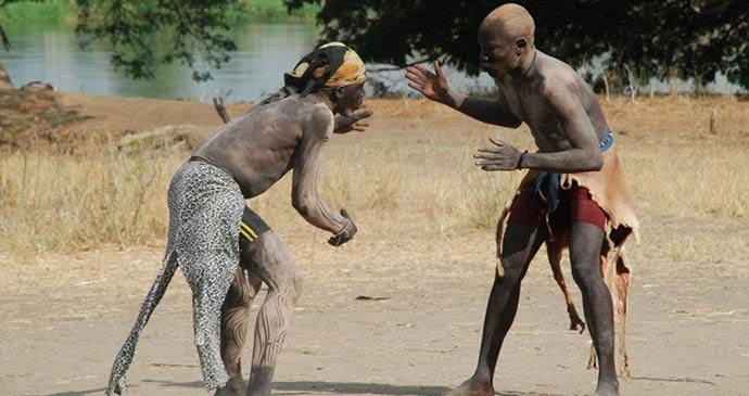 Bor wrestling, South Sudan by Jim O'Brien