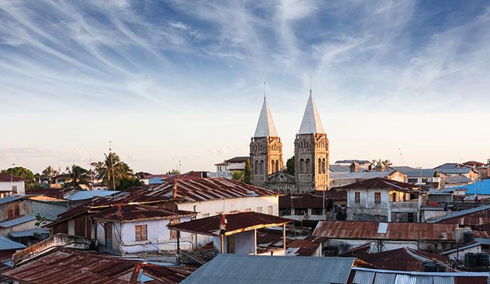 Stone Town roofs view Zanzibar Tanzania
