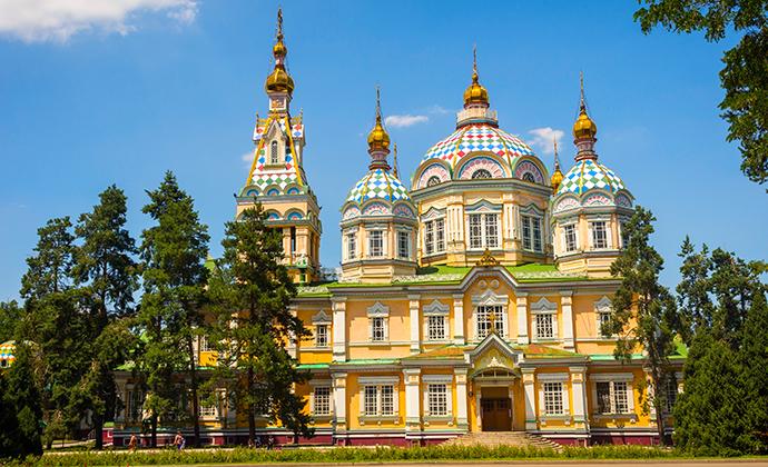 Zenkov's cathedral Almaty Kazakhstan by Dinozzzaver, Shutterstock