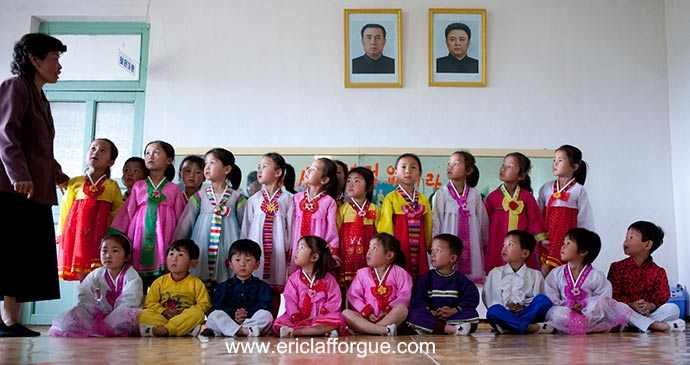 Children in Chongsan, North Korea Asia by Eric Lafforgue