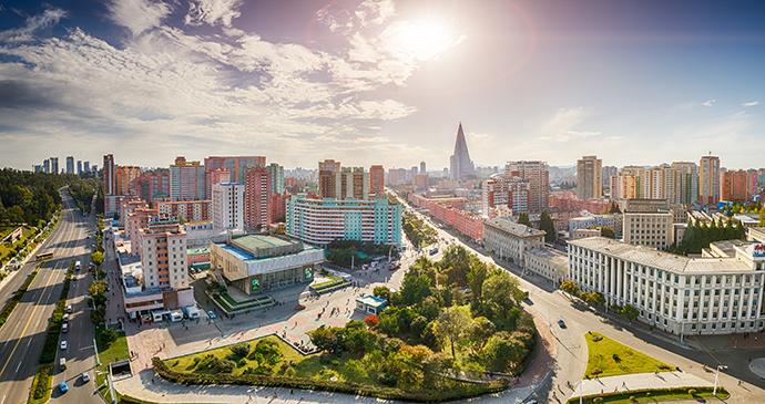 Aerial skyline view Pyongyang North Korea by Truba7113 Shutterstock