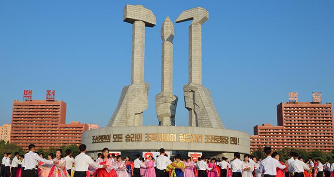 May Day celebrations Pyongyang North Korea by Carl Meadows