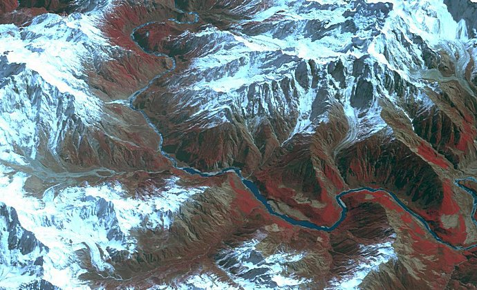 Yarlung Tsangpo Tibet China by NASA