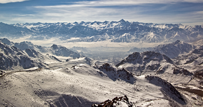 The city of Leh in Ladakh during winter, Kashmir, India, Asia by J&K Tourism