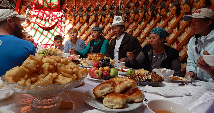 Yurt interior, Kyrgyzstan by Carys Homer