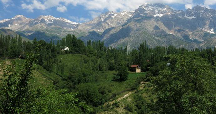 Arslanbob region Kyrgyzstan Asia by Laurence Mitchell