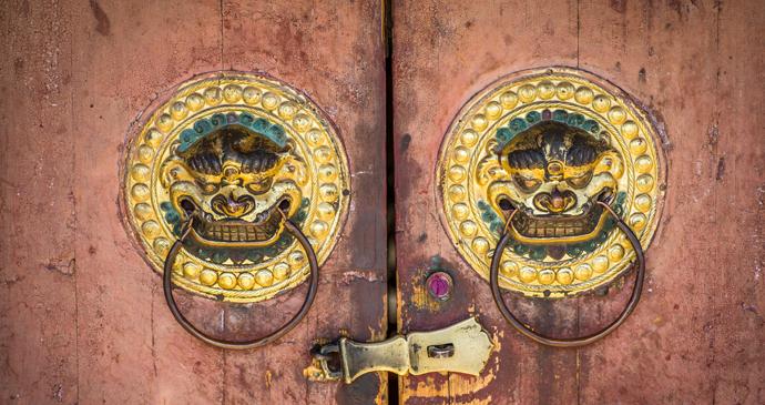Detail on the doors of Erdene Zuu Monastery, Kharkhorin, Mongolia by Janelle Lugge, Shutterstock