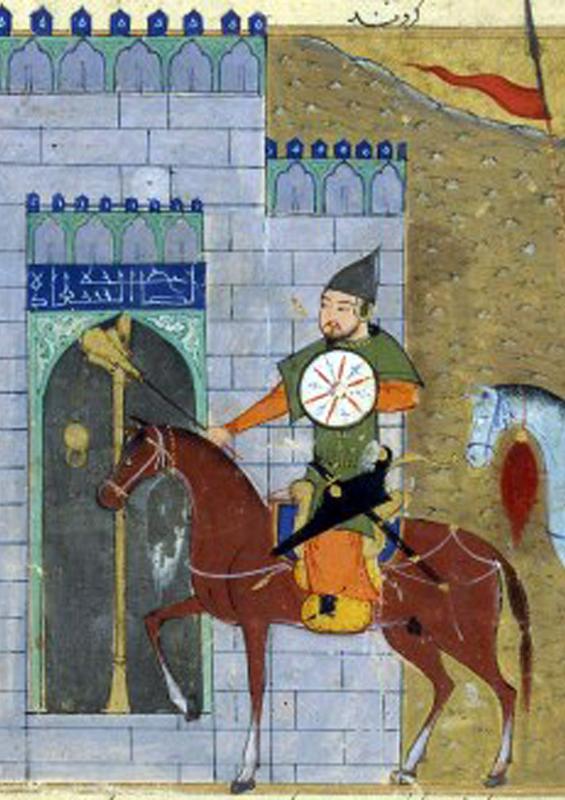 Manuscript illustration of Genghis Khan and the Siege of Beijing; Mongolia by Sayf al-Vâhidî, Bibliothèque nationale de France, Département des Manuscrits, Division orientale