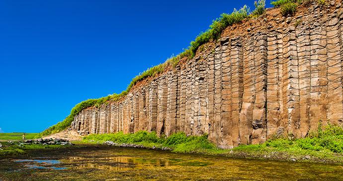 basalt columns penghu taiwan by htu shutterstock