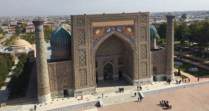 Ulug Beg Madrassa minaret Registan Samarkand Uzbekistan by Laura Pidgley