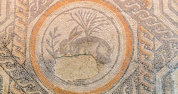 The Corinium museum's iconic Hare Mosaic © Peter Jay