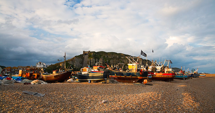 Hastings Harbour and East Hill, Sussex, England by Milan GOnda, Shutterstock