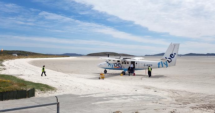 Barra's airport on Tràigh Mhòr beach Outer Hebrides Scotland by Andrea G. Ricordi Dreamstime