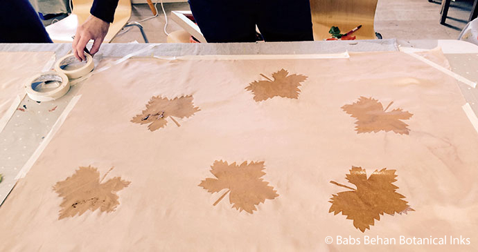 Stencils on silk by Baby Behan Botanical Inks