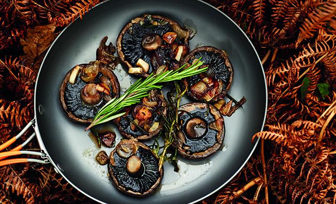 Rosemary and garlic mushrooms camping recipe The Wilderness Cookbook by Liz Seabrook