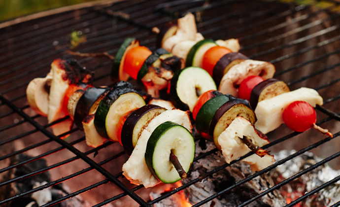 Tomato and halloumi kebabs recipe The Wilderness Cookbook © Liz Seabrook