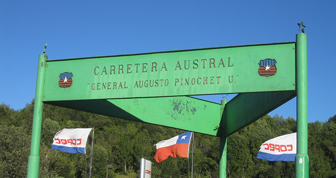 Monument, sign, La Junta, Carretera Austral, Chile by Hugh Sinclair